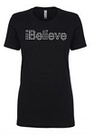 IBelieve Next Level Rhinestone Short Sleeve Tee