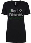 Real Moms of Soccer 1540 Next Level Perfect Rhinestone Tee